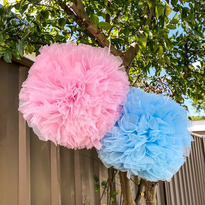 Eco friendly Balloon alternative - Pom Pom, Light pink and light blue