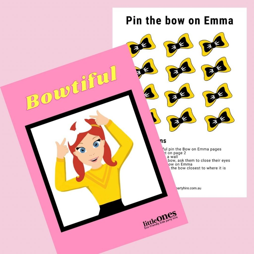 Little Ones Party Hire_emma Wiggle_Pin the bow
