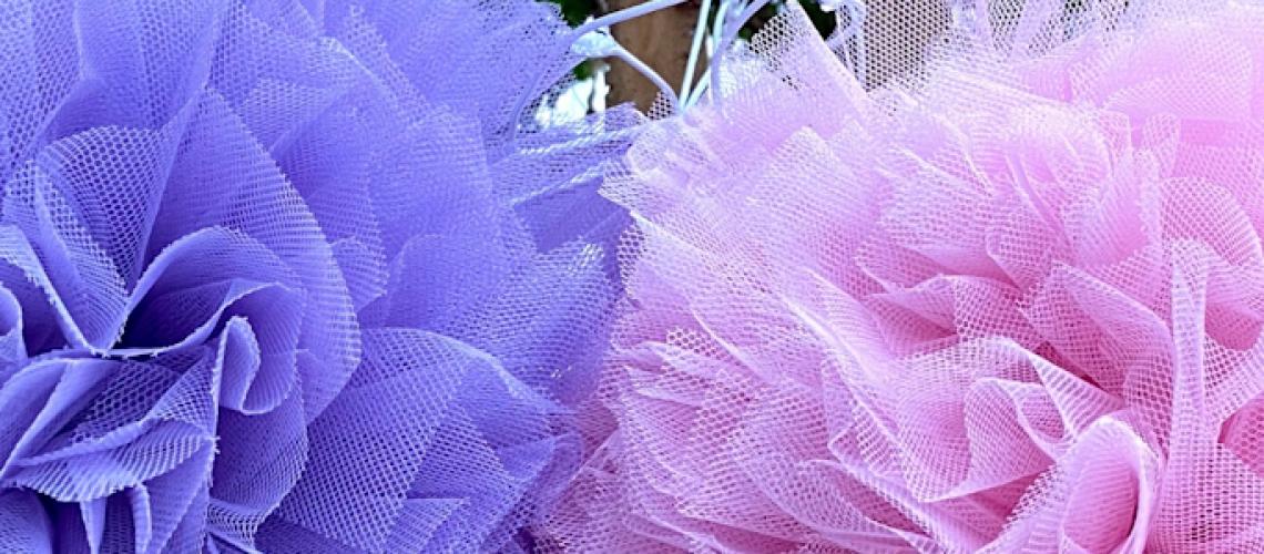 Light purple and light pink eco friendly balloon alternative Pom Pom